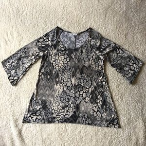 Brittany Black Small Animal Print Blouse